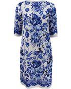 Oscar de la Renta Jewel Neck Tunic Dress - Lyst