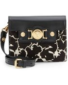Versace Leather & Calf Hair Shoulder Bag - Lyst