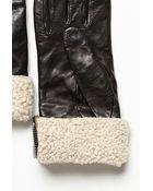 Carolina Amato Shearling Cuff Leather Glove - Lyst