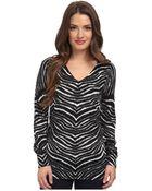 MICHAEL Michael Kors Petite Zebra Print V-Neck Sweater - Lyst