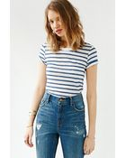 Monrow Striped Cropped Tee - Lyst