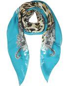 Roberto Cavalli Blue Ornamental & Animal Print Silk Square Scarf - Lyst