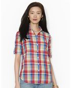 Lauren by Ralph Lauren Petite Lightweight Plaid Shirt - Lyst