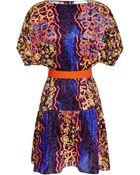 Peter Pilotto Roamer Belted Printed Silk Dress - Lyst