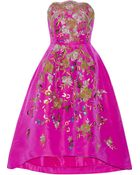 Oscar de la Renta Embroidered Silk-Faille Dress - Lyst