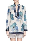Tory Burch 'Tory' Floral Print Cotton Voile Tunic - Lyst