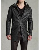 John Varvatos Zip Detail Leather Coat - Lyst