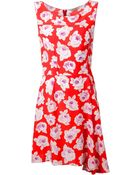 Nina Ricci Floral-Print Silk Mini Dress - Lyst
