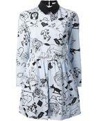 Carven Striped Tattoo Print Dress - Lyst