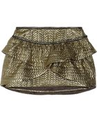 Isabel Marant Bilbao Ruffled Metallic Brocade Mini Skirt - Lyst