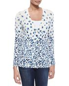 Tory Burch Printed V-Neck Button-Front Cardigan - Lyst