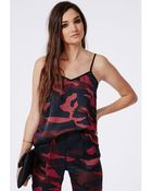 Missguided Camouflage Print Silk Feel Cami Top Burgundy - Lyst