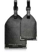 Aspinal Set Of 2 Lizard Embossed Leather Luggage Tags - Lyst