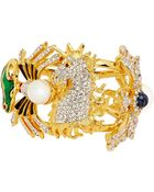 Kenneth Jay Lane 'Flocks Of Fantasy' Faux Pearl Crystal Pavé Enamel Bangle - Lyst