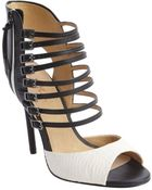 L.a.m.b. Black And White Leather And Snake Embossed Strappy Heel 'Larson' Sandals - Lyst