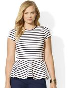 Lauren by Ralph Lauren Plus Striped Cotton Peplum Tee - Lyst