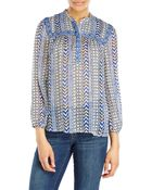 Lucky Brand Blue Mixed Print Beaded Peasant Top - Lyst
