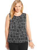 Calvin Klein Plus Size Printed Pleat-Neck Top - Lyst