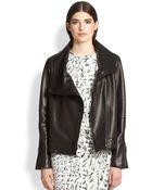 Helmut Lang Petal Asymmetrical Leather Jacket - Lyst
