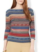 Ralph Lauren Lauren Multi Stripe Sweater - Lyst