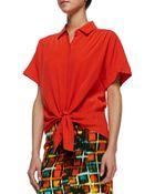 Lafayette 148 New York Elodie Short-sleeve Silk Blouse - Lyst