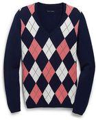 Tommy Hilfiger V-Neck Argyle Sweater - Lyst