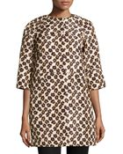 RED Valentino Floral/Leopard-Print Faille Overcoat - Lyst