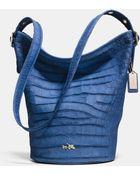 Coach Duffle Shoulder Bag In Croc Embossed Denim Leather - Lyst