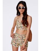 Missguided Yellow Floral Bralet - Lyst