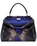 Fendi Peekaboo Mini Python Satchel Bag - Lyst