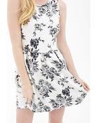 Forever 21 Rose Print Flare Dress - Lyst