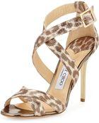 Jimmy Choo Lottie Leopard-print Metallic Sandal - Lyst