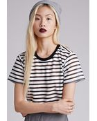 Forever 21 Sheer-Striped Crop Top - Lyst