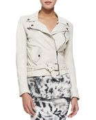 Pam & Gela Belted Leather Moto Jacket - Lyst