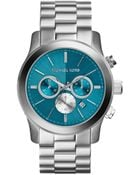 Michael Kors Oversize Silver Color Stainless Steel Runway Chronograph Watch - Lyst