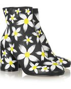 Maison Margiela Painted Daisy-Print Textured-Leather Ankle Boots - Lyst