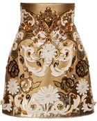 Dolce & Gabbana Embroidered Metallic Leather High Waist Skirt - Lyst