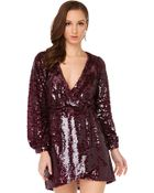 Akira Black Label One Night Burgundy Sequin Wrap Dress - Lyst