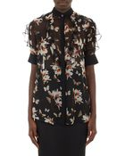 Givenchy Magnolia Butterfly Chiffon Blouse - Lyst