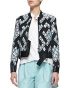 3.1 Phillip Lim Geometric-Print Textured Jacket W/ Leather Belt - Lyst
