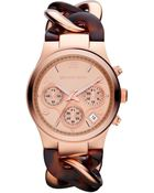 Michael Kors Women'S Chronograph Runway Twist Tortoise Acetate And Rose Gold-Tone Stainless Steel Bracelet Watch 38Mm Mk4269 - Lyst