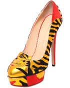 Charlotte Olympia 145Mm Ninivah Suede Tiger Pumps - Lyst
