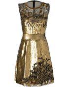 Alberta Ferretti Sequin And Lace Cocktail Dress - Lyst