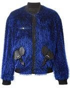 Jamie Wei Huang Leather-Detail Fluffy Bomber Jacket - Lyst