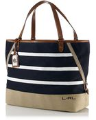 Lauren by Ralph Lauren Striped Canvas Tote - Lyst