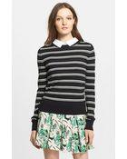 Veronica Beard Collared Button Back Stripe Sweater - Lyst