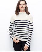 Ann Taylor Striped Mock Neck Sweater - Lyst