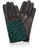 Nina Ricci Croc-Detail Leather Gloves - Lyst