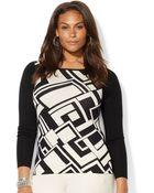 Lauren by Ralph Lauren Plus Size Geoprint Colorblocked Sweater - Lyst