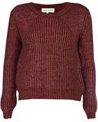 River Island Burgundy Metallic Chunky Knit Sweater - Lyst